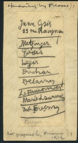 Picasso: Nota escrita a mano