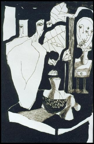 Interior - Tinta 36x26 - Colección: Antigonas Modernas