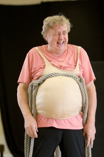 Desmond Barrit as Sir John Falstaff in rehearsal for The Merry Wives of Windsor. Photo by Pete le May.
